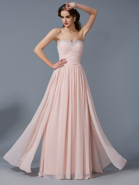 A-Line/Princess Chiffon Sweetheart Floor-Length Pleats Sleeveless Dresses