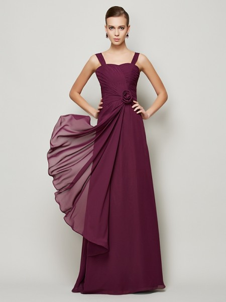 A-Line/Princess Chiffon Straps Sleeveless Hand-Made Flower Floor-Length Dresses