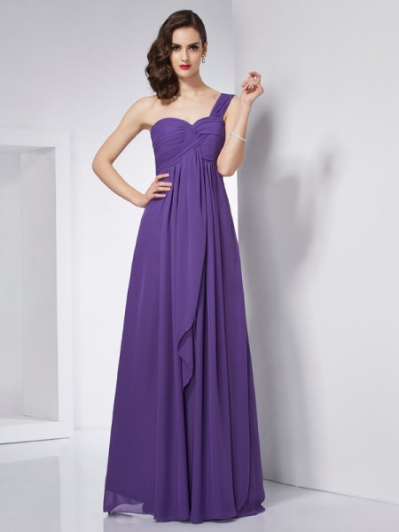 A-Line/Princess Chiffon One-Shoulder Sleeveless Pleats Floor-Length Dresses
