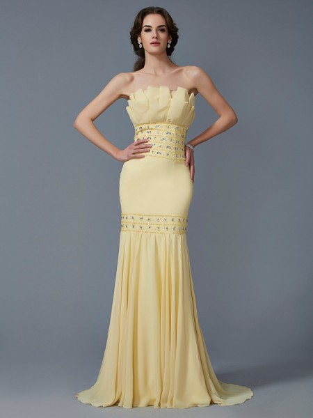 Trumpet/Mermaid Chiffon Strapless Sleeveless Beading Sweep/Brush Train Dresses