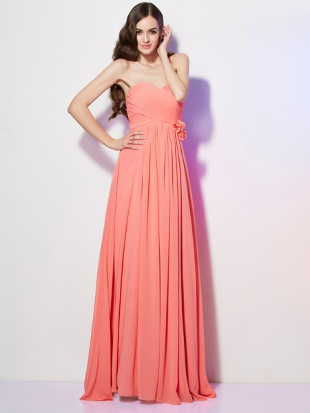 A-Line/Princess Chiffon Hand-Made Flower Sweetheart Sleeveless Floor-Length Dresses