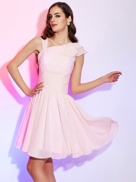 A-Line/Princess Chiffon Sleeveless Pleats Short/Mini Dresses