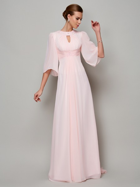 A-Line/Princess Chiffon High Neck Beading Sweep/Brush Train 1/2 Sleeves Mother of the Bride Dresses