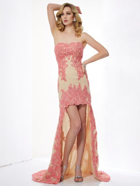 A-Line/Princess Lace Sweetheart Sleeveless Applique Asymmetrical Dresses