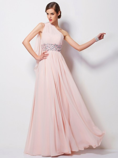 Sheath/Column Chiffon Beading One-Shoulder Sleeveless Floor-Length Dresses