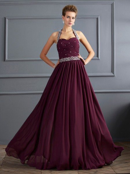 Sheath/Column Chiffon Halter Sleeveless Beading Floor-Length Dresses