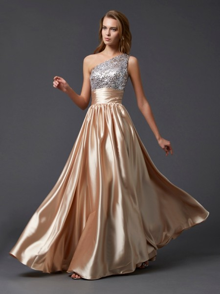 A-Line/Princess Elastic Woven Satin One-Shoulder Sleeveless Floor-Length Paillette Dresses