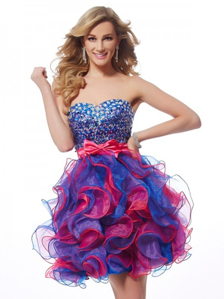 A-Line/Princess Organza Sweetheart Sleeveless Sequin Short/Mini Dresses