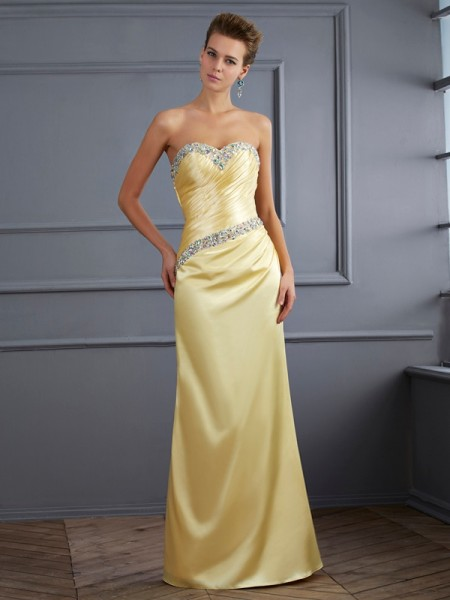Trumpet/Mermaid Elastic Woven Satin Sweetheart Sleeveless Floor-Length Beading Dresses