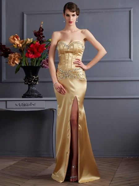 Sheath/Column Elastic Woven Satin Sweetheart Sleeveless Sweep/Brush Train Beading Dresses