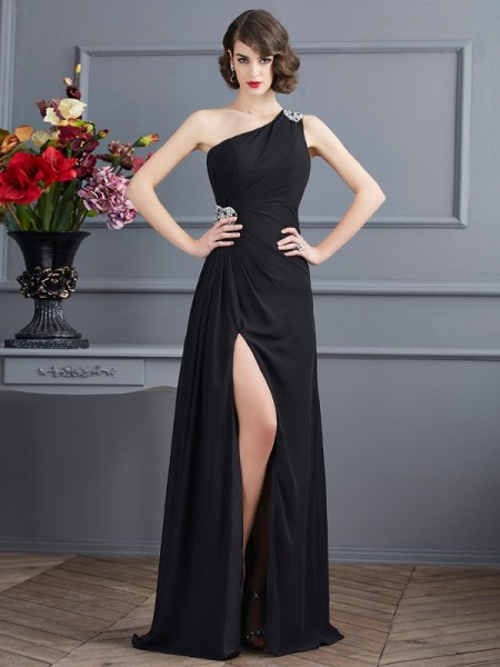 Sheath/Column Chiffon One-Shoulder Beading Floor-Length Sleeveless Dresses