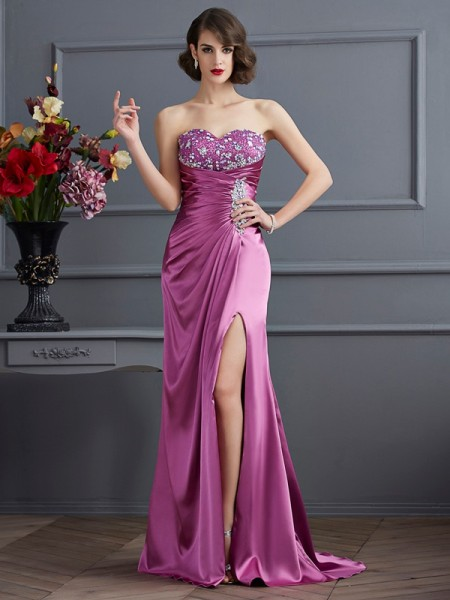 Sheath/Column Elastic Woven Satin Sweetheart Sleeveless Beading Sweep/Brush Train Dresses
