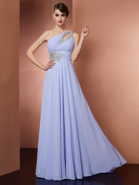 A-Line/Princess Chiffon One-Shoulder Sleeveless Sweep/Brush Train Dresses