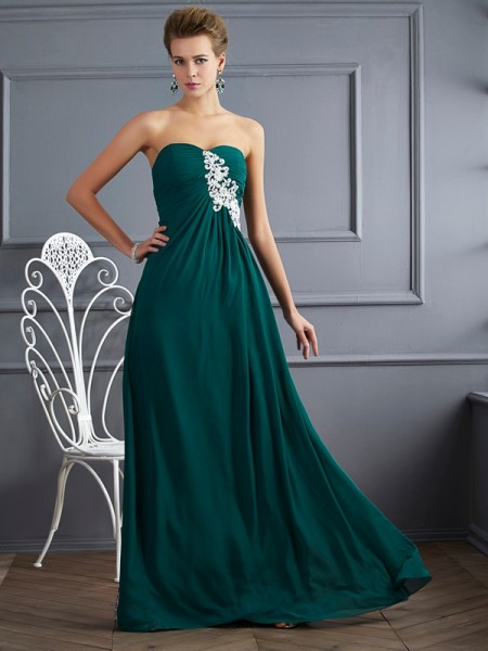 Sheath/Column Sweetheart Sleeveless Beading Chiffon Floor-Length Dresses
