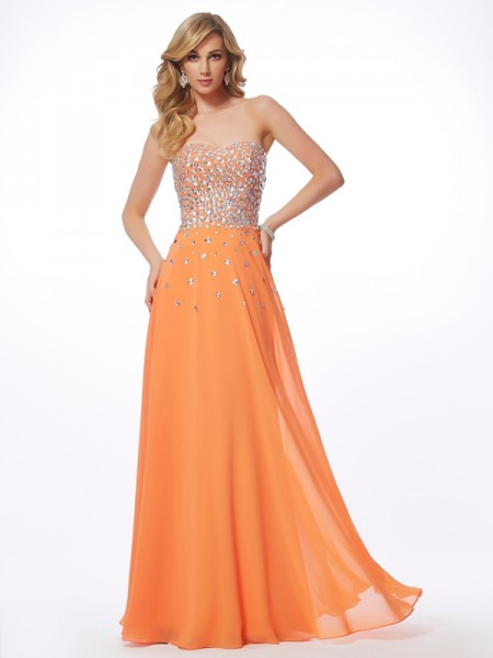 A-Line/Princess Chiffon Sweetheart Floor-Length Rhinestone Sleeveless Dresses