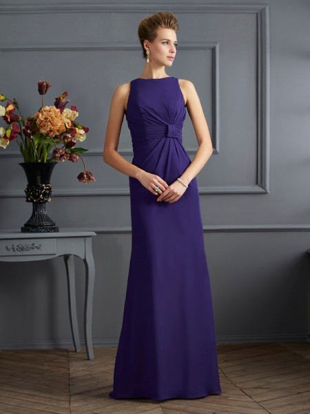 Sheath/Column Bateau Sleeveless Pleats Chiffon Floor-Length Dresses