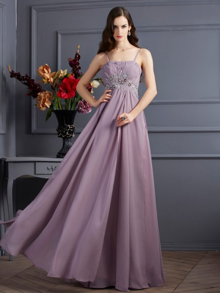 Empire Chiffon Spaghetti Straps Sleeveless Floor-Length Beading Dresses