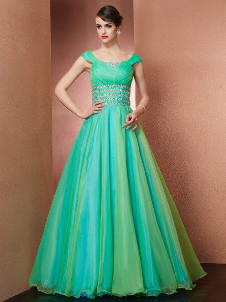 Ball Gown Satin Off-the-Shoulder Sleeveless Floor-Length Dresses