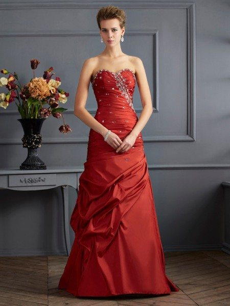Trumpet/Mermaid Taffeta Sweetheart Sleeveless Beading Floor-Length Dresses