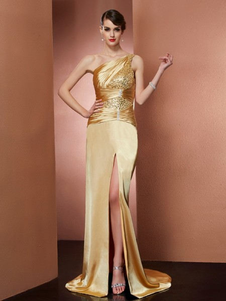 Sheath/Column Elastic Woven Satin One-Shoulder Sleeveless Sweep/Brush Train Beading Dresses