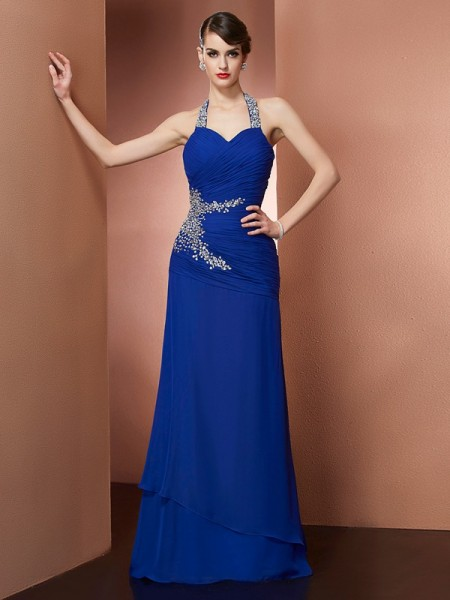 Sheath/Column Halter Sleeveless Chiffon Floor-Length Dresses
