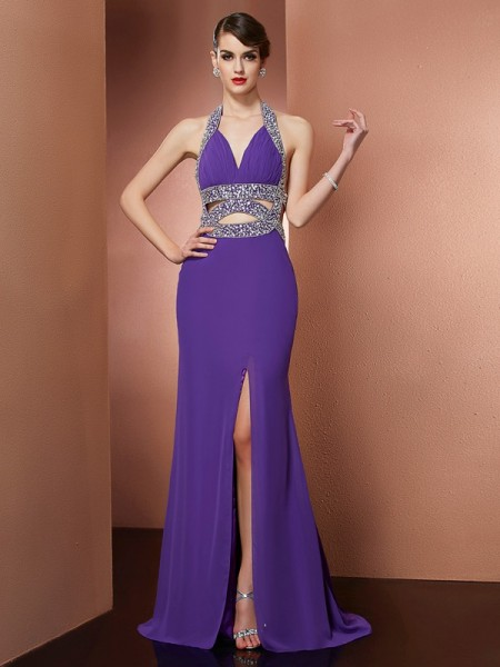 A-Line/Princess Chiffon Halter Sleeveless Sweep/Brush Train Dresses