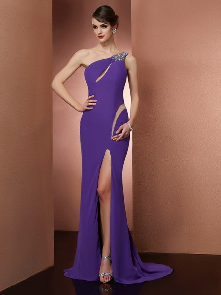 A-Line/Princess Chiffon One-Shoulder Beading Sweep/Brush Train Sleeveless Dresses
