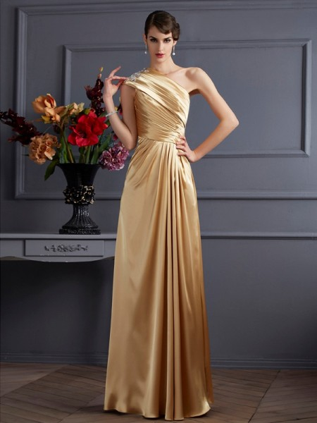 A-Line/Princess Elastic Woven Satin One-Shoulder Beading Floor-Length Sleeveless Dresses