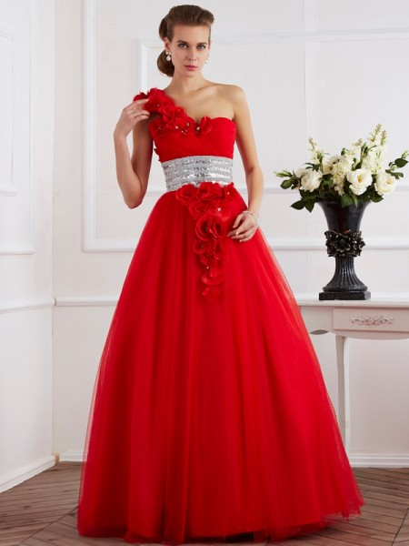 Ball Gown Net One-Shoulder Sleeveless Floor-Length Dresses
