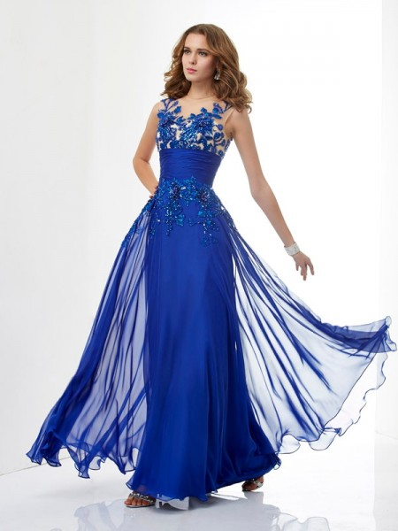A-Line/Princess Chiffon High Neck Sleeveless Beading Floor-Length Dresses