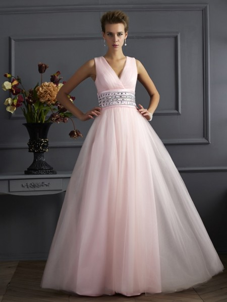 Ball Gown Net Beading V-neck Sleeveless Floor-Length Dresses