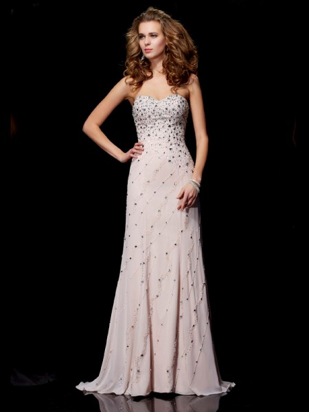 A-Line/Princess Chiffon Beading Sweetheart Sweep/Brush Train Sleeveless Dresses