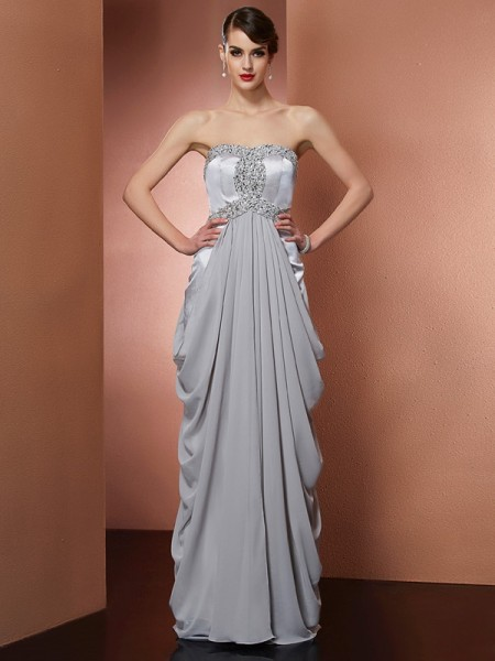Sheath/Column Chiffon Strapless Sleeveless Beading Floor-Length Dresses