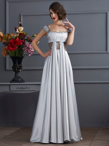 A-Line/Princess Elastic Woven Satin Off-the-Shoulder Sleeveless Pleats Floor-Length Dresses