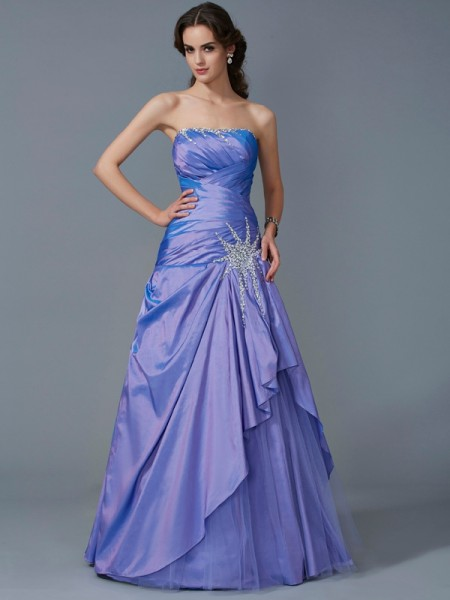 Trumpet/Mermaid Taffeta Strapless Floor-Length Beading Sleeveless Dresses
