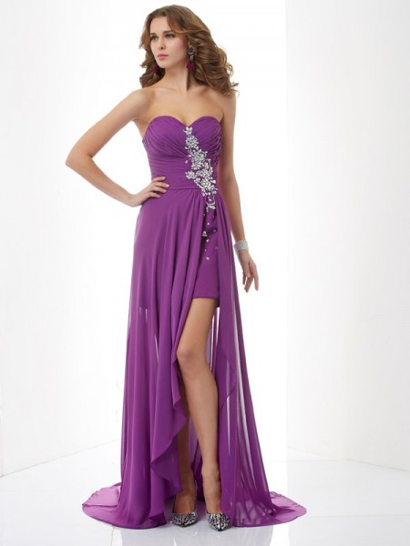 A-Line/Princess Chiffon Beading Sweetheart Sleeveless Sweep/Brush Train Dresses