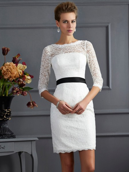 Sheath/Column Lace Sash/Ribbon/Belt Scoop 3/4 Sleeves Short/Mini Mother of the Bride Dresses