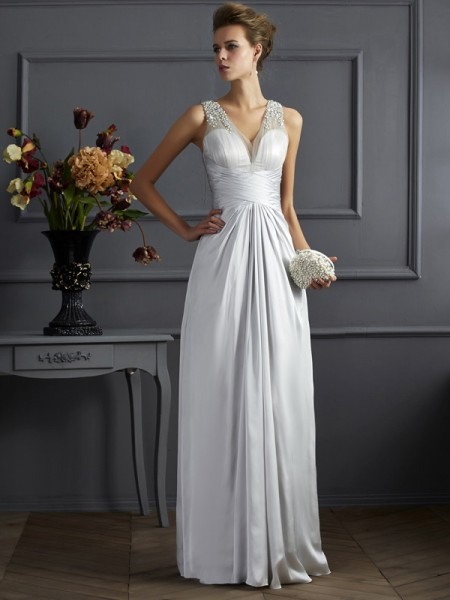 A-Line/Princess Silk like Satin Beading Straps Sleeveless Floor-Length Dresses
