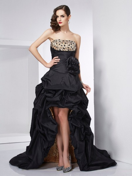 A-Line/Princess Taffeta Strapless Sleeveless Beading Asymmetrical Dresses