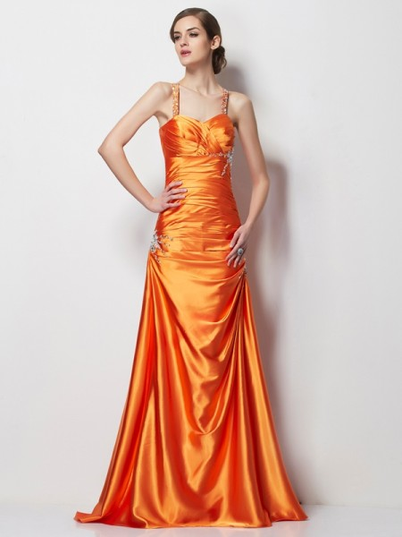 A-Line/Princess Elastic Woven Satin Spaghetti Straps Sleeveless Sweep/Brush Train Dresses