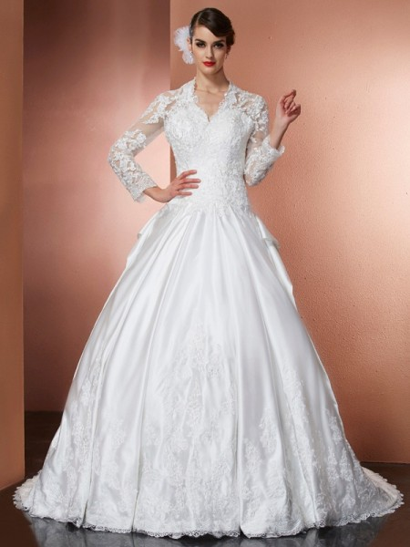A-Line/Princess Satin V-neck Long Sleeves Applique Cathedral Train Dresses