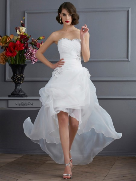 A-Line/Princess Organza Sweetheart Sleeveless Beading Asymmetrical Wedding Dresses