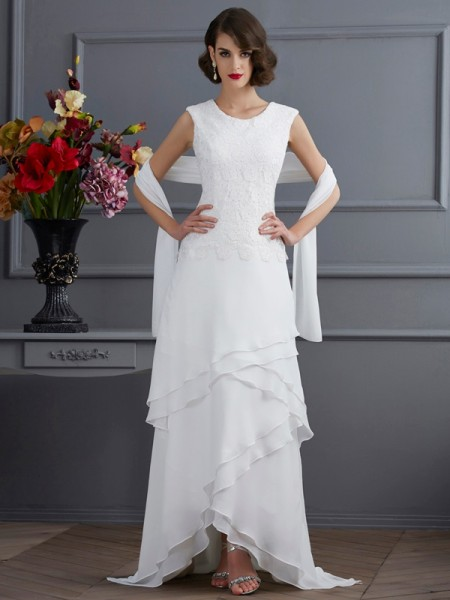 Sheath/Column Chiffon Bateau Sleeveless Asymmetrical Lace Mother of the Bride Dresses