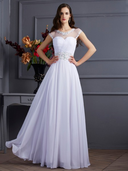 A-Line/Princess Chiffon Bateau Short Sleeves Floor-Length Wedding Dresses