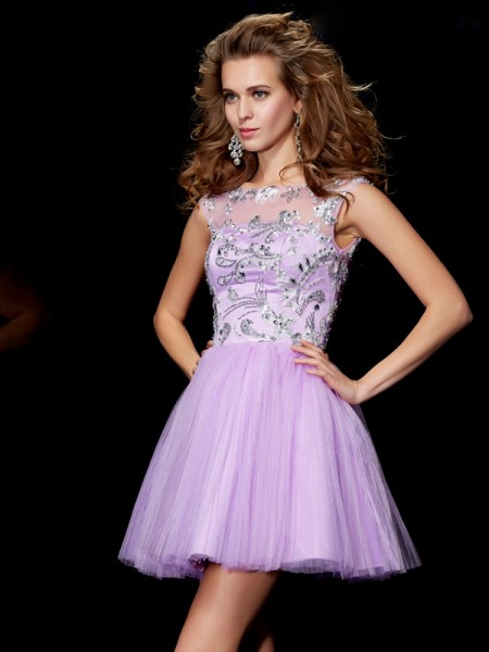 A-Line/Princess Satin Bateau Short Sleeves Beading Short/Mini Dresses