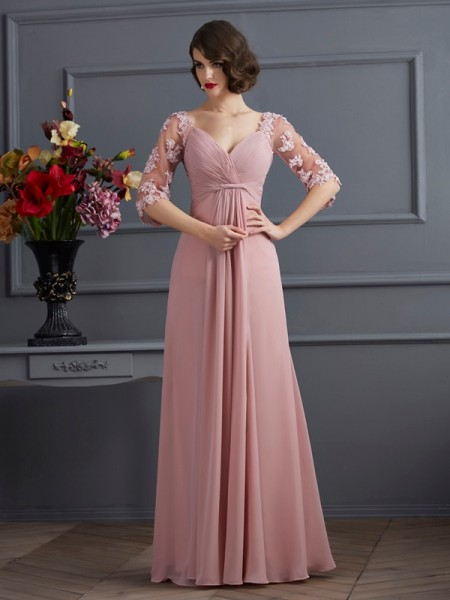 A-Line/Princess Chiffon Sweetheart 1/2 Sleeves Beading Floor-Length Dresses