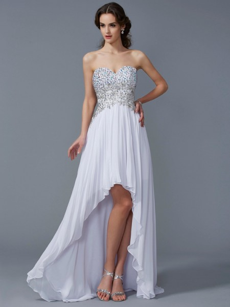 A-Line/Princess Chiffon Sweetheart Sleeveless Asymmetrical Beading Dresses