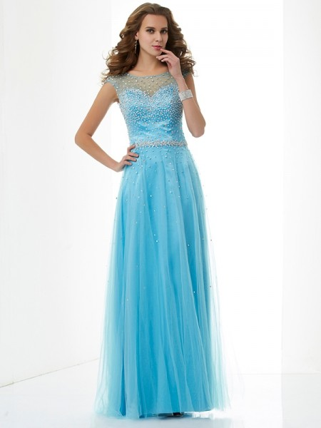 Sheath/Column Net High Neck Sleeveless Beading Floor-Length Dresses