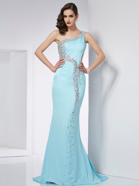 Trumpet/Mermaid Chiffon One-Shoulder Sleeveless Sweep/Brush Train Beading Dresses