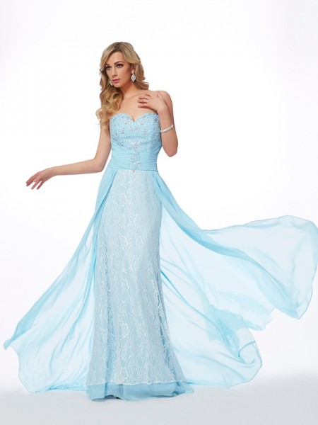 A-Line/Princess Chiffon Sweetheart Sweep/Brush Train Beading Sleeveless Dresses